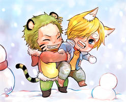 Tiger Zoro Fox Sanji playing with snow by Yuushishio