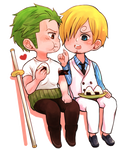 Zoro and Sanji enjoy onigiri