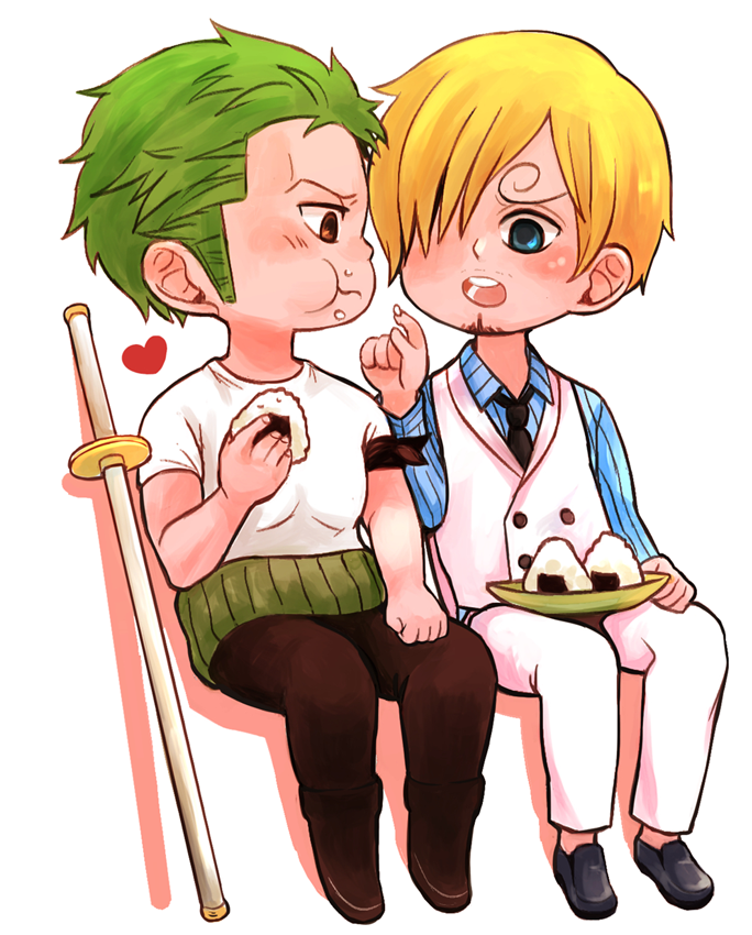 Zoro and Sanji enjoy onigiri by Yuushishio