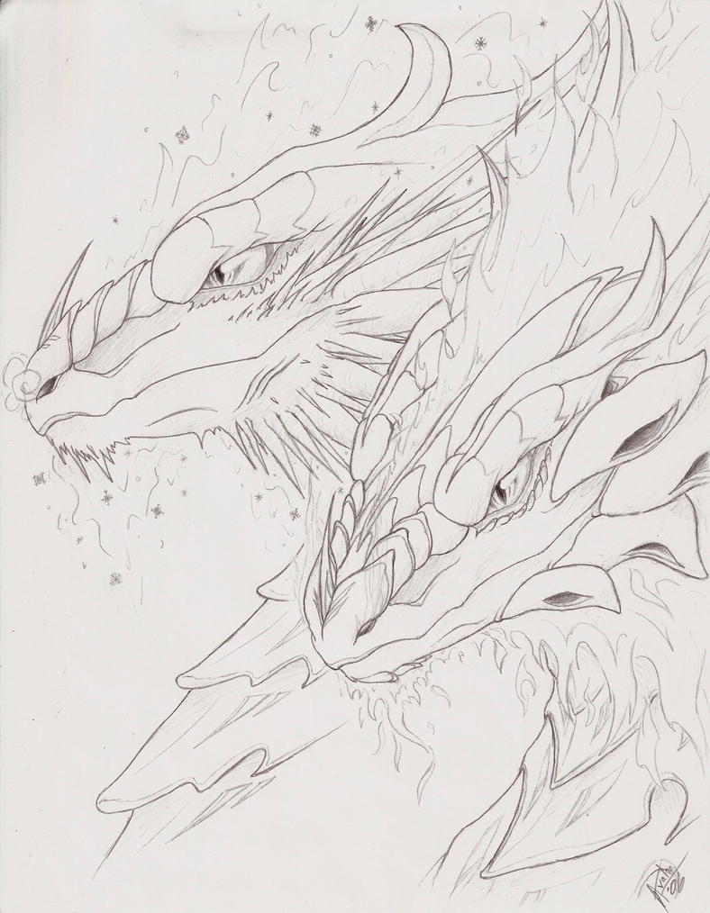 twin fire and ice dragons by maximumoverdrive on deviantart