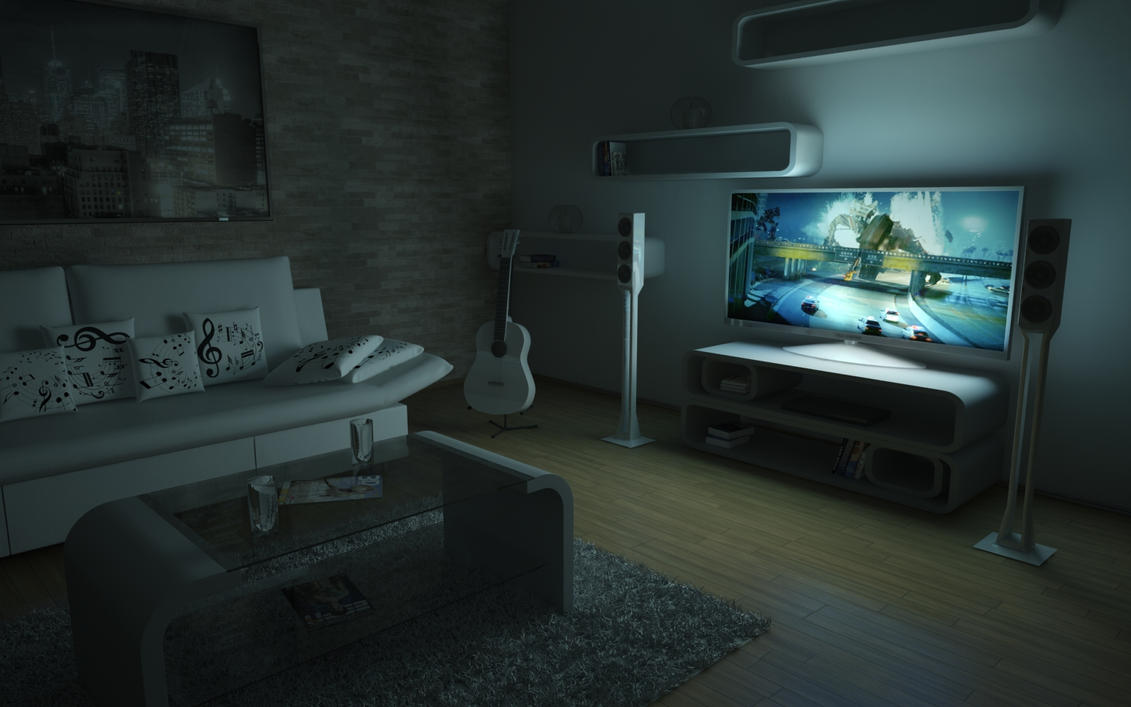 Living room 11 at night by slographic