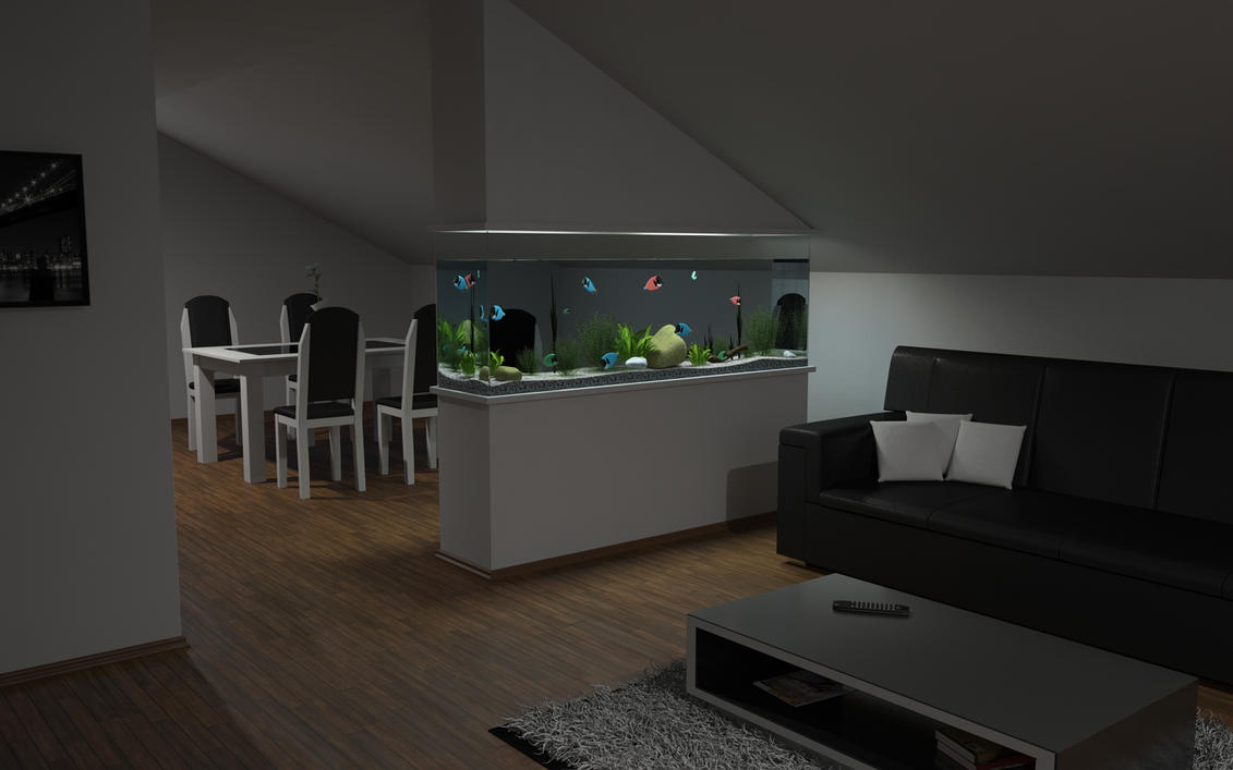 Genial Living Room Aquarium At Evening By Slographic ...