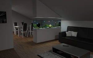 Living room aquarium at evening by slographic
