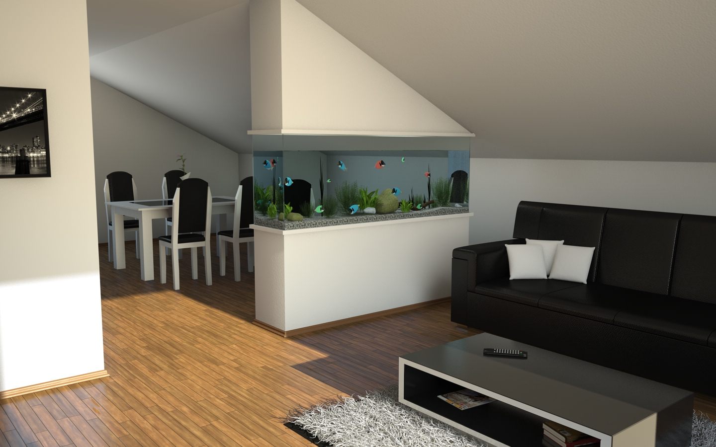 Living room aquarium by slographic on deviantart - Separation decorative entre 2 pieces ...