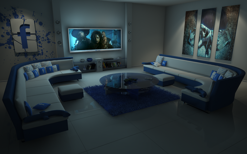 Facebook living room at night by slographic on deviantart for Living room cinema 4d