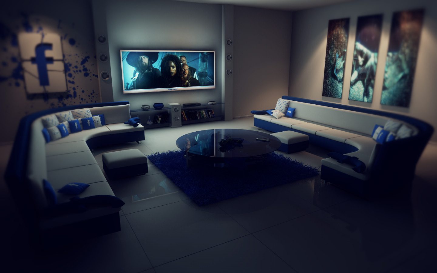 Facebook living room at night ps by slographic on deviantart for Living room night