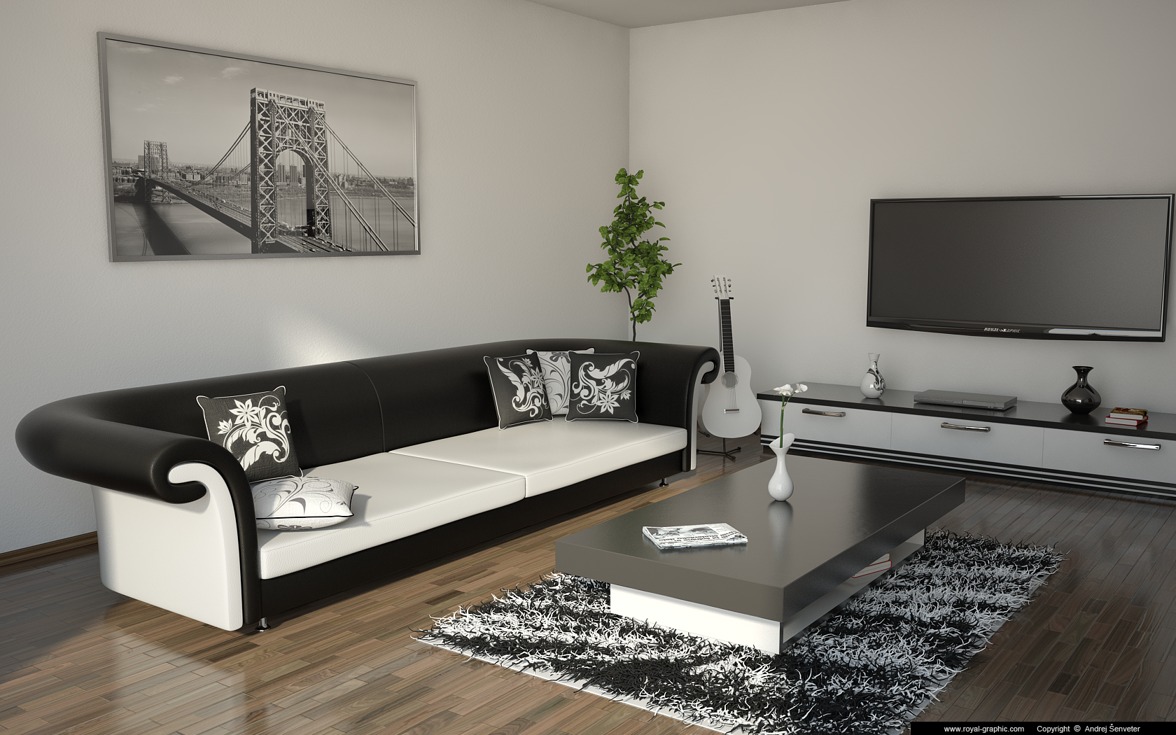 Living Room Black And White By Slographic On Deviantart