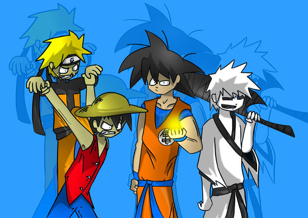 dbz bleach one piece naruto by kenshintehchibi