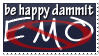 Be happy Dammit Stamp by DemosthenesVoice