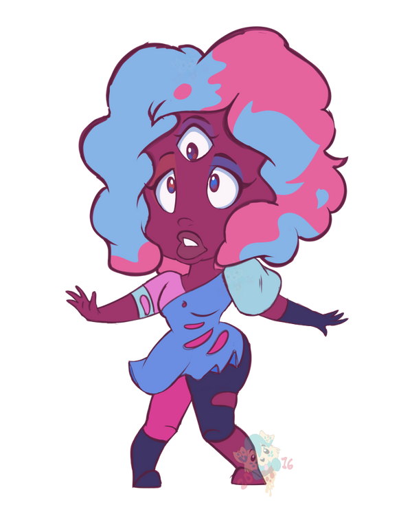Just a lil warm up :3 I may or may not have a tiny liking to Garnet's hair. Wish I knew where I can turn my drawings into stickers ^^' Garnet © Rebecca Sugar