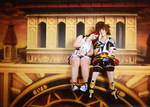 sora and kairi on the twilight balcony