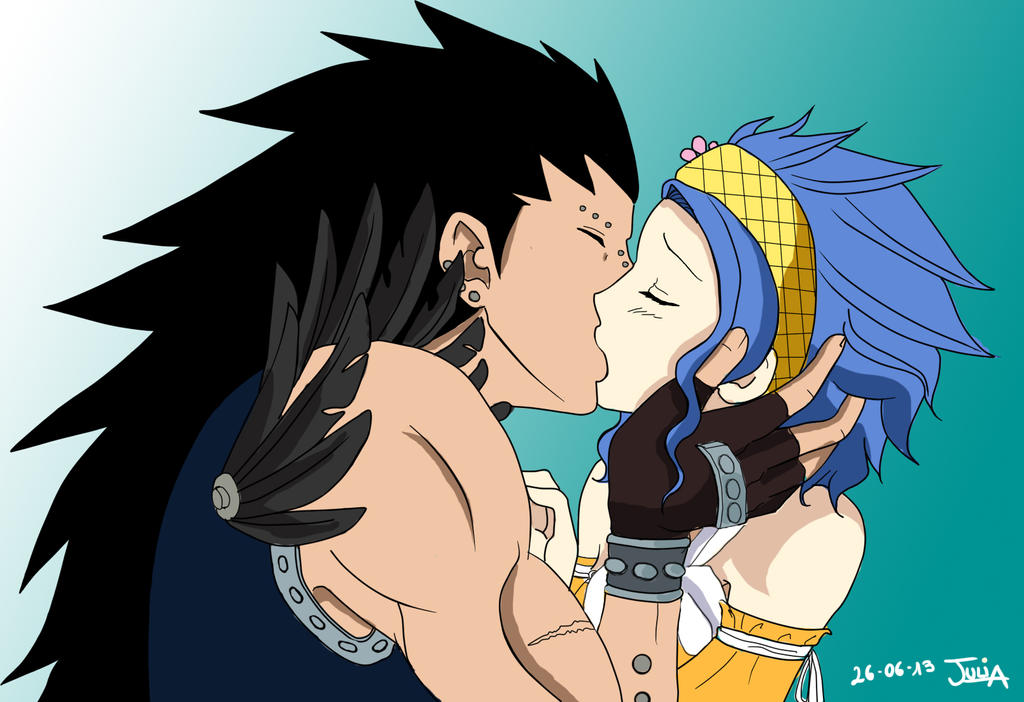Fairy Tail Levy And Gajeel Kiss Gajeel and Levy kiss by Julia-