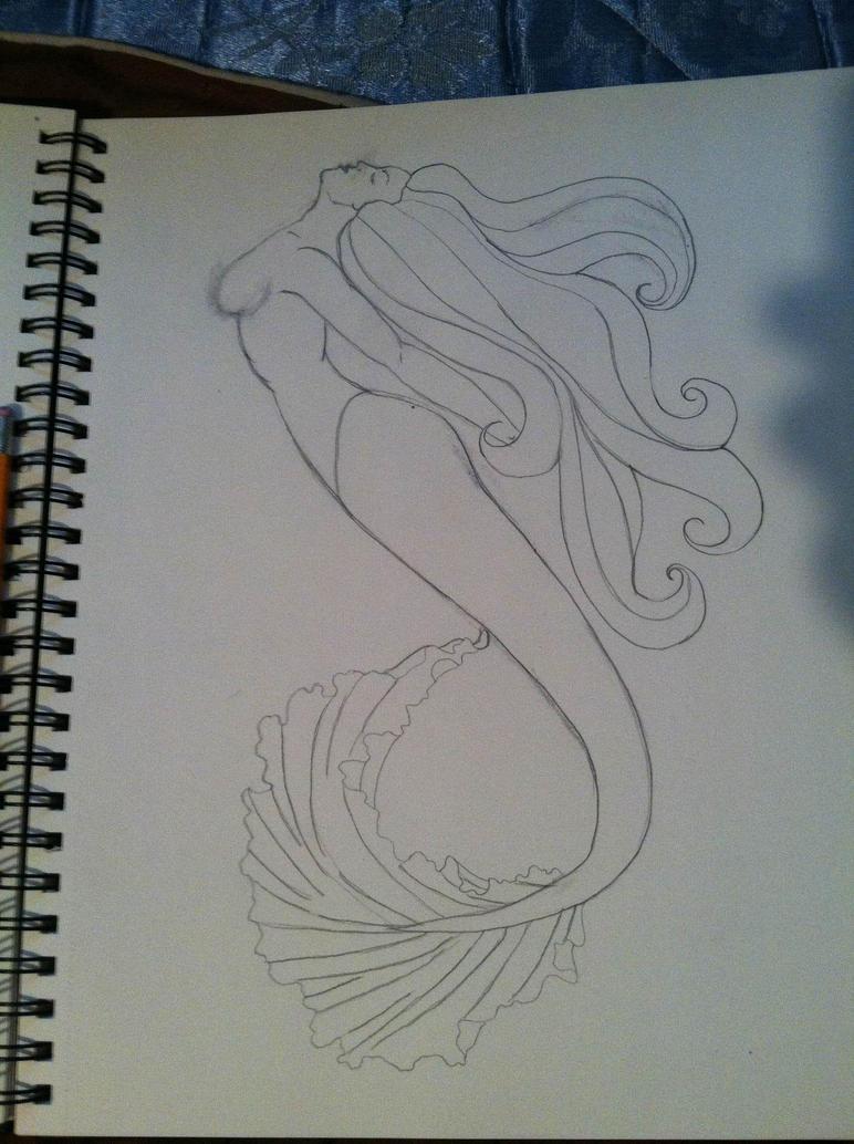 Line Drawing Tattoo Artists : Mermaid tattoo line art by risarjm on deviantart