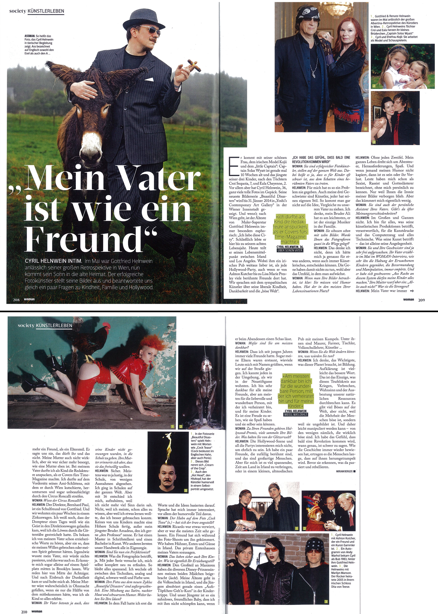 WOMAN magazine article and interview, Cyril Helnwein
