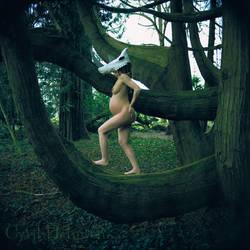 Mother Rhino on Branch by Cyril-Helnwein