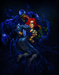 Black Widow Facing The Demon by Psychoboy07