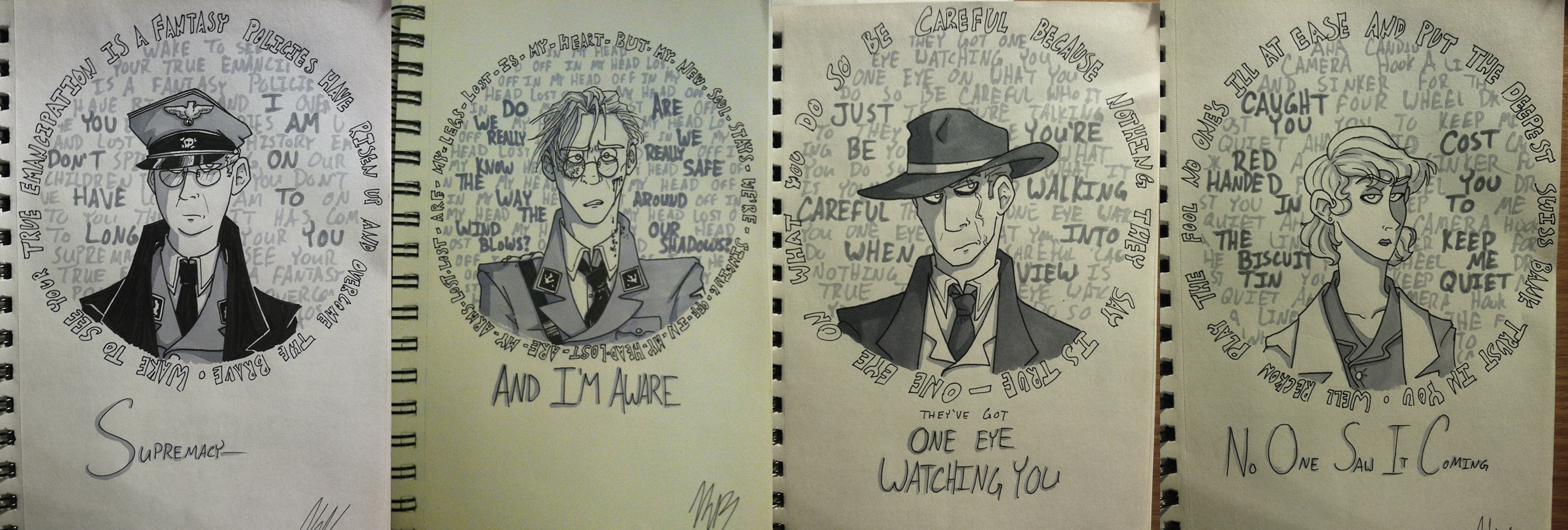 Lyric Doodles- TD Antagonists by HugaDuck
