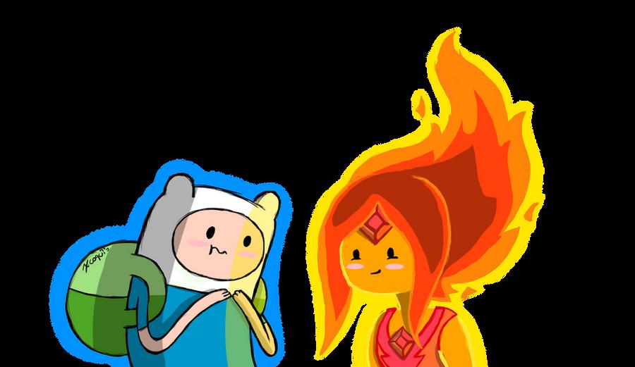 Hora de aventura finn y princesa flama