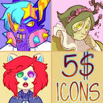 OPEN || CHEAP 5$ ICON COMMISSIONS by exoship