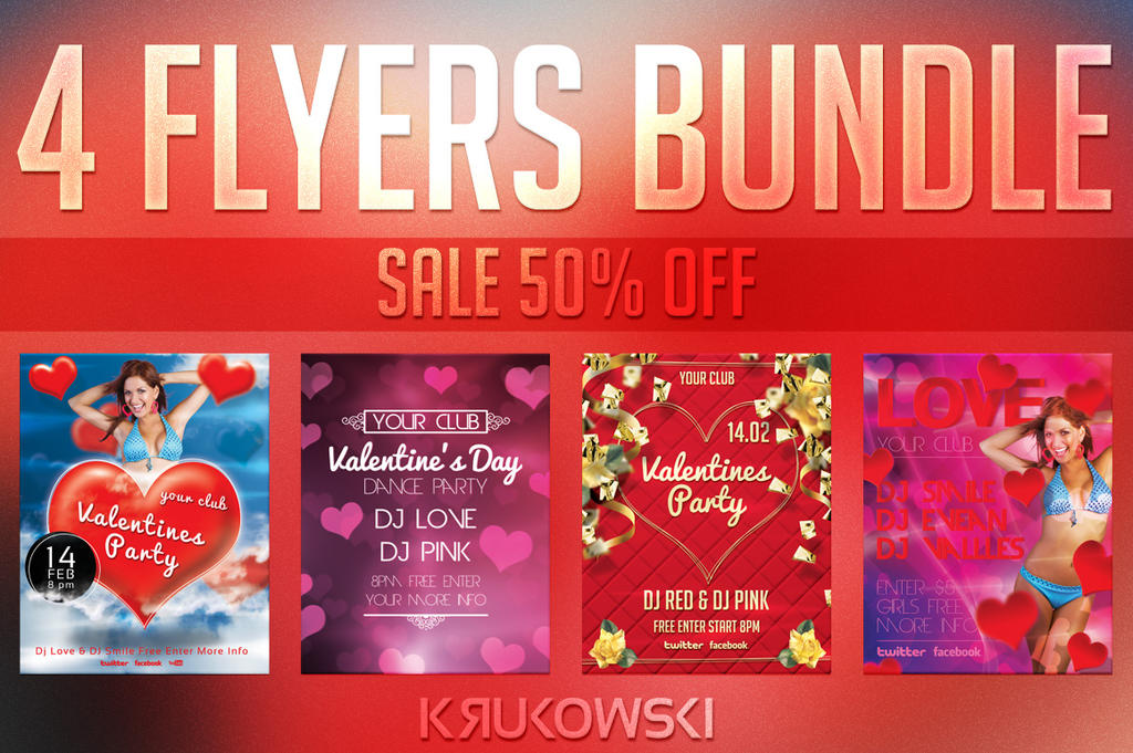 Valentines Flyer Templates Bundle by mkrukowski