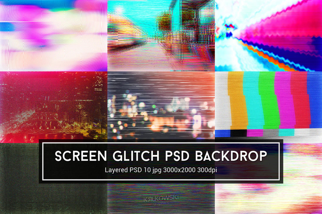 Screen Glitch PSD Backdrop by mkrukowski