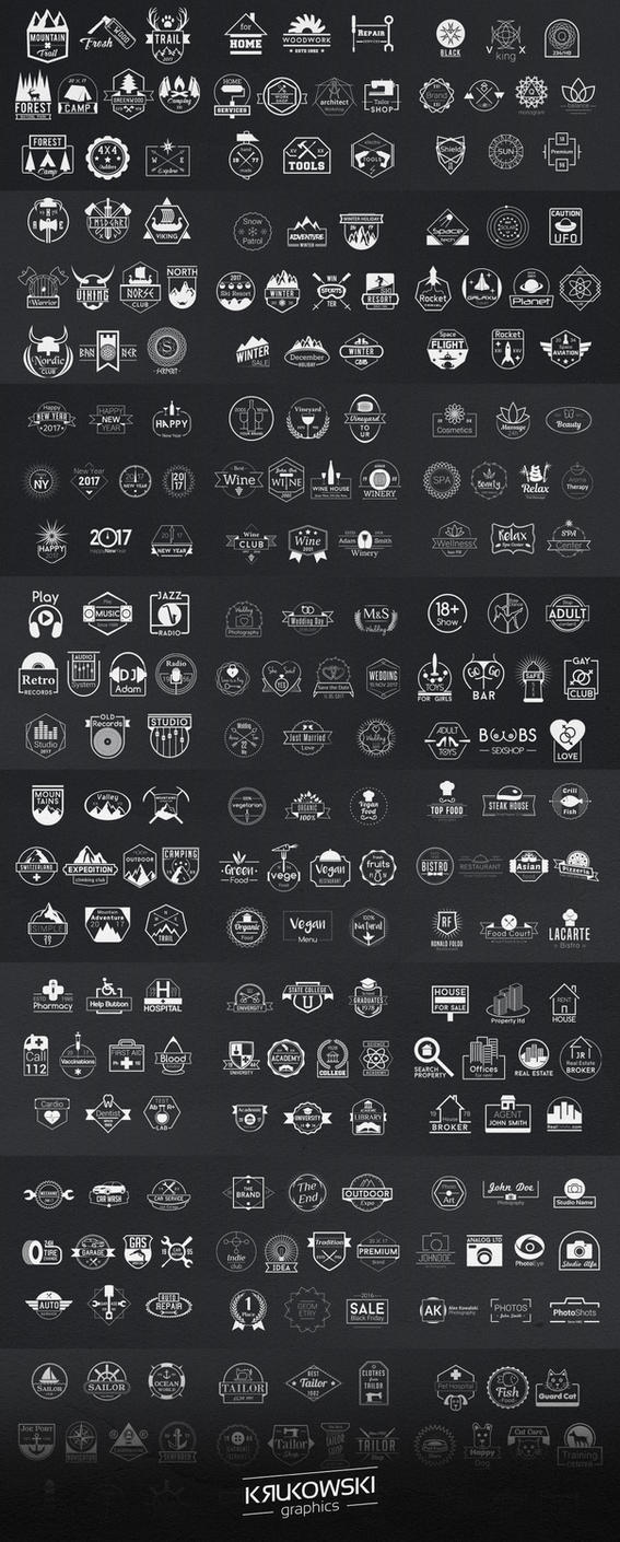 570+ Vector Badge Logos Bundle by mkrukowski