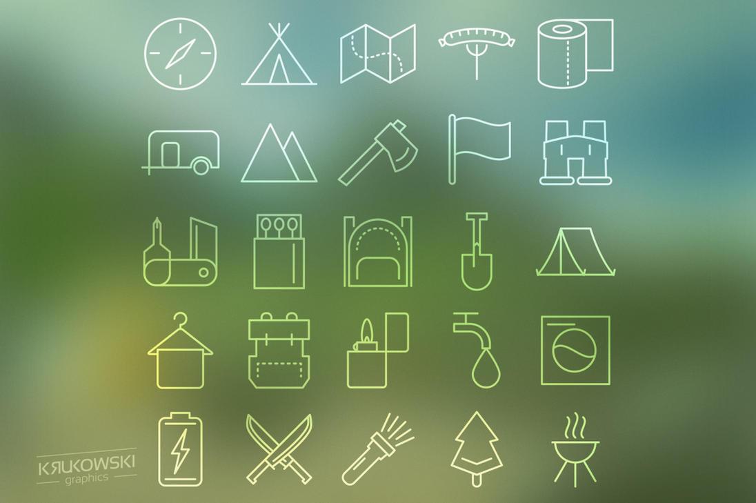 Camping Icons Set by mkrukowski