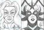 Titania and Hela Sketch cards by SilverBolt14