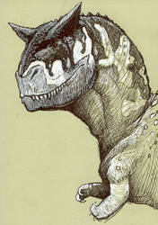 Carnotaurus the Snuggly by caramitten