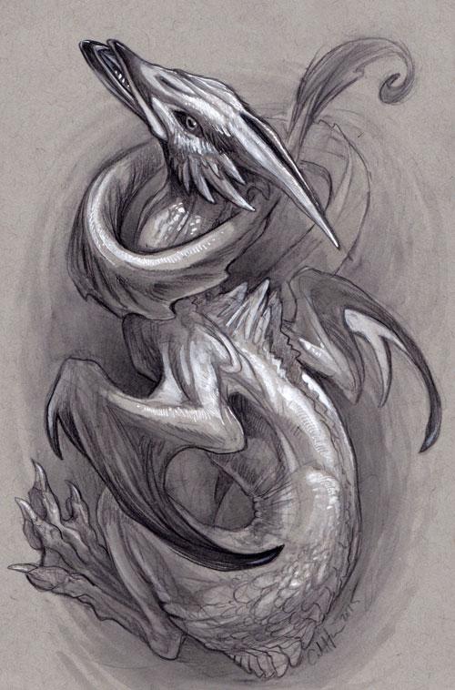 Aquatic Wyvern by caramitten