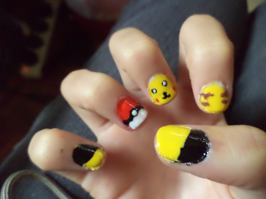 Pikachu Acrylic Nails Pikachu Nails Right Hand by