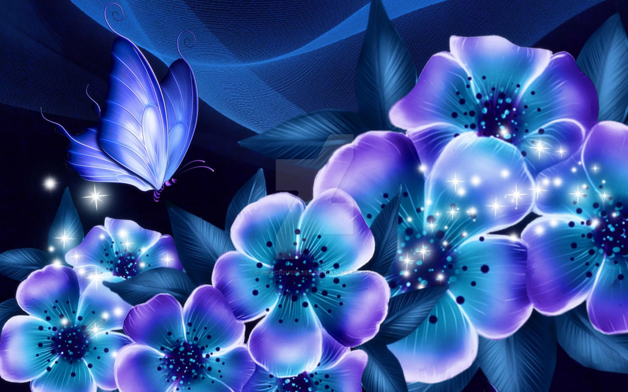 exotic blue floral with butterflies by preciousbliss on deviantart, Beautiful flower