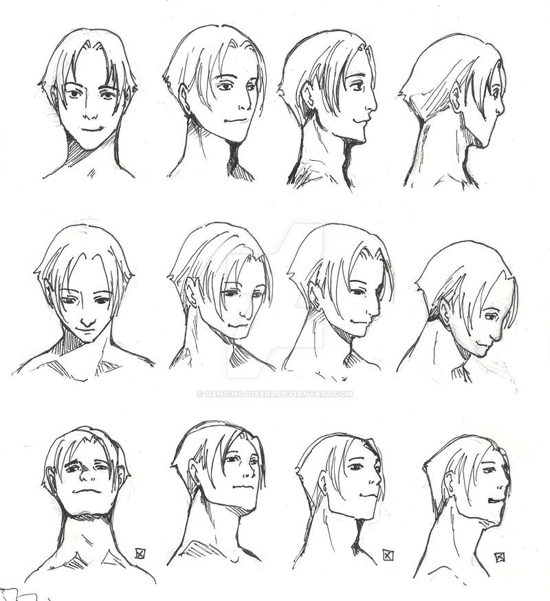 how to draw a face looking downwards