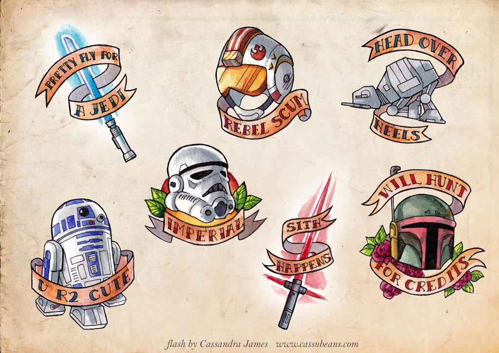 Star Wars tattoo flash by CassandraJames