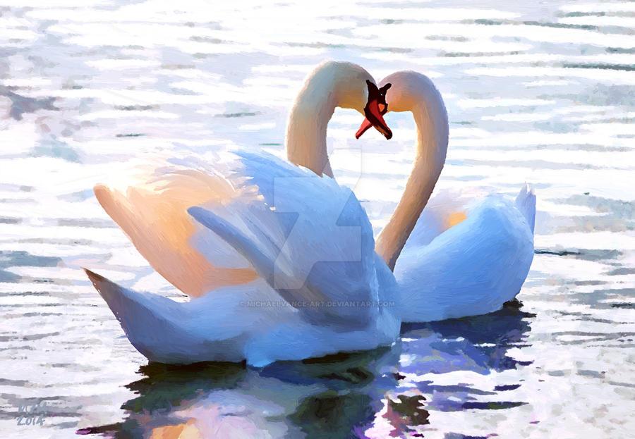 Swan Hearts by MichaelVance-ART