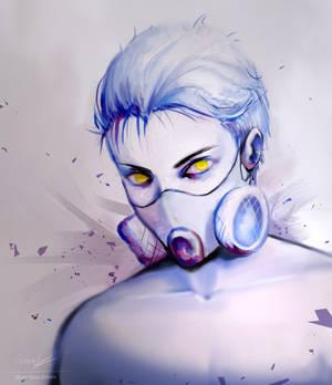 Blue gasmask