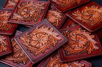 Hand Tooled Western Leather Coasters