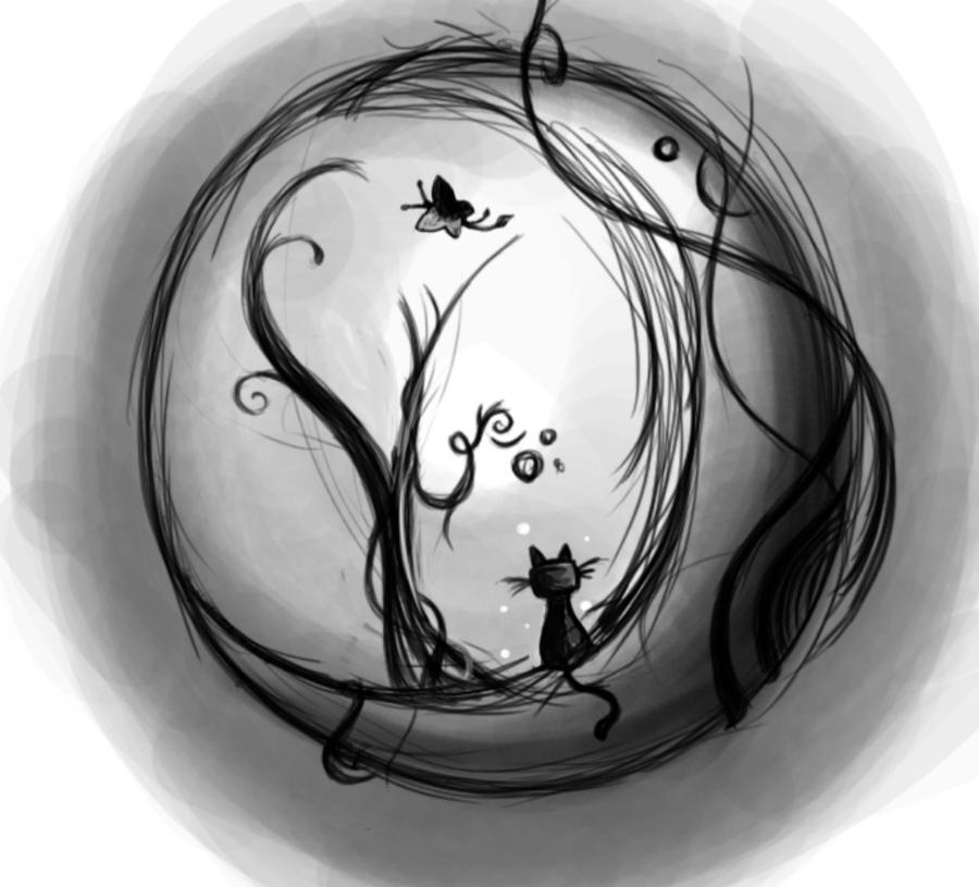Love Cats Moon Cat on The Moon by Sfragua