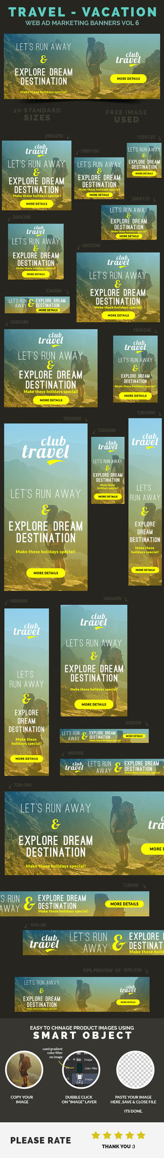 Travel - Vacation Web Ad Marketing Banners Vol 6 by webduckdesign