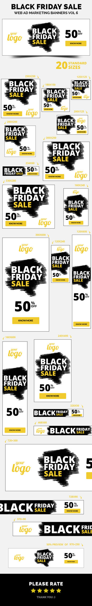 Black Friday Sale Web Ad Marketing Banners by webduckdesign