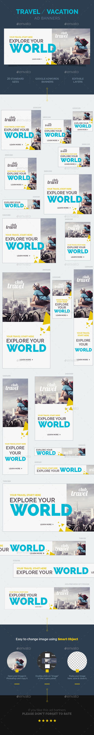 Travel / Vacation Ad Banners by webduckdesign