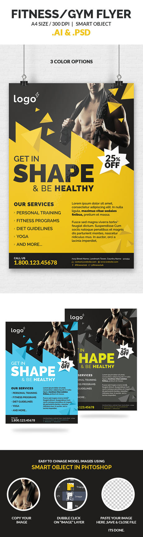 fitness gym flyer template by webduckdesign on deviantart. Black Bedroom Furniture Sets. Home Design Ideas