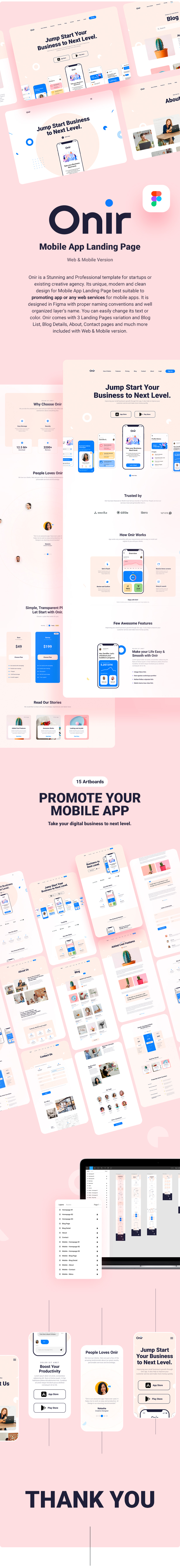 Onir - Mobile App Landing Page Figma Template - 1