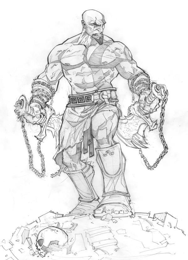 Zeus Line Drawing : God of war ascension sketch by patrickbrown on deviantart
