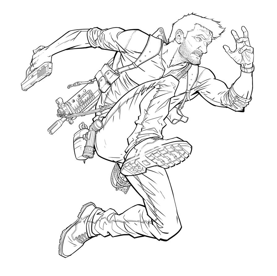 Line Art Work : Nathan drake line work by patrickbrown on deviantart