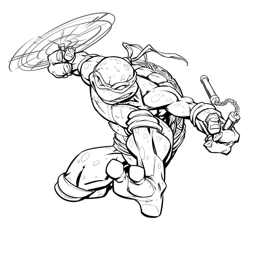 Line Art Ninja Turtles : Tmnt mikey by patrickbrown on deviantart