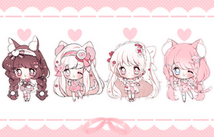 [CLOSED] Valentines Day Chibi Adoptables by rosybun