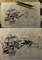 Spiderman vs. Lizard WIP 2012 by barfast