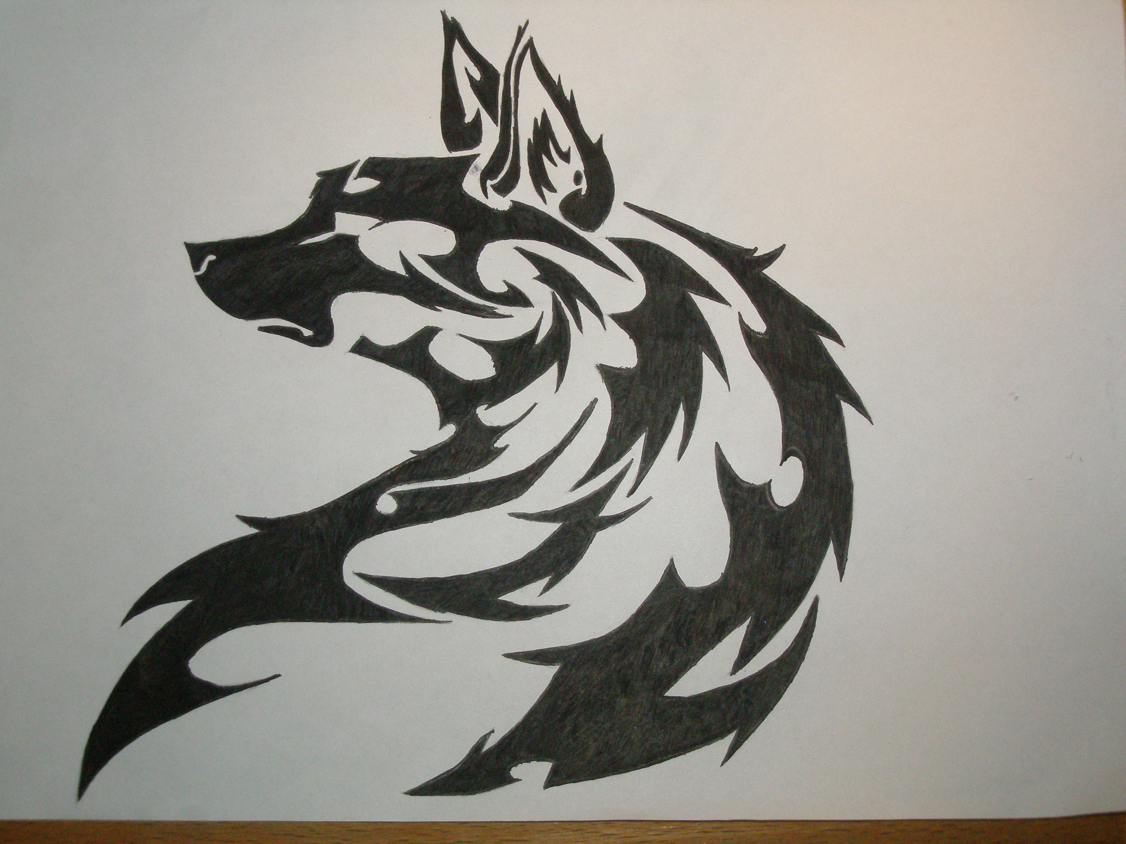 Tribal art wolf