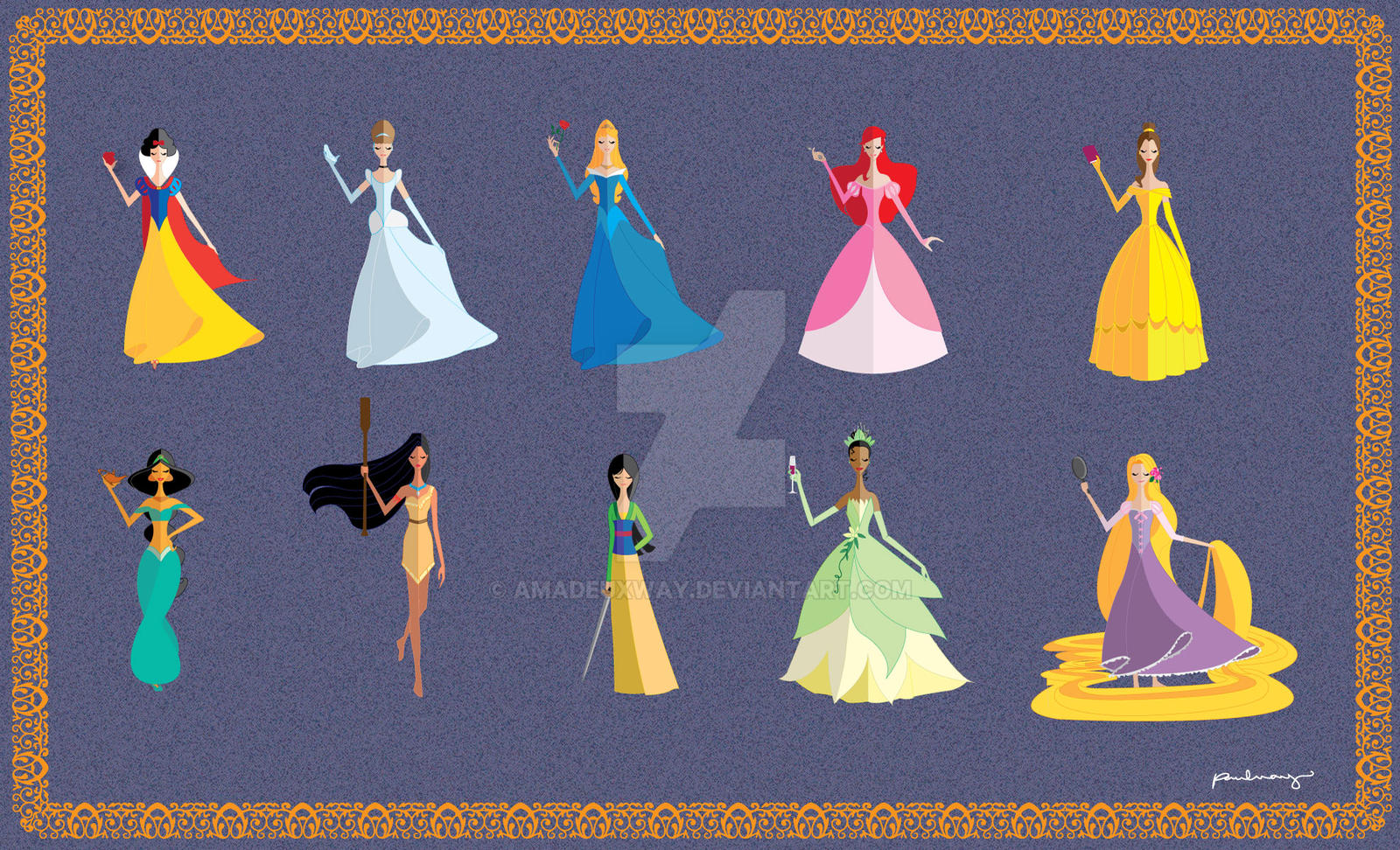Origami Disney Princesses by AmadeuxWay